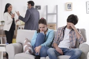 Teenagers distressed as parents argue