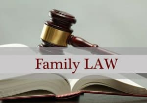 Family law written on a book with Judge Gavel